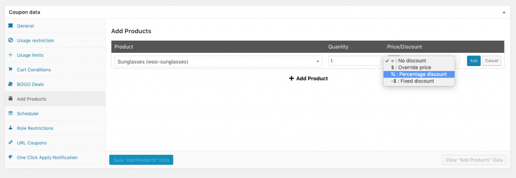 WooCommerce Coupon Add Products And Override Price