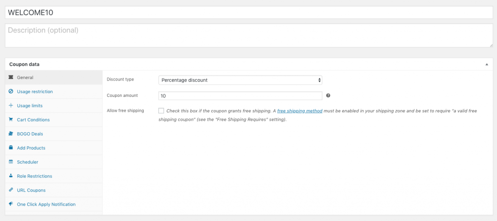 WooCommerce Welcome Coupon General Settings