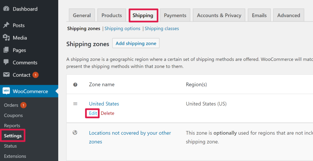 WooCommerce Free Shipping Coupon Edit shipping zone