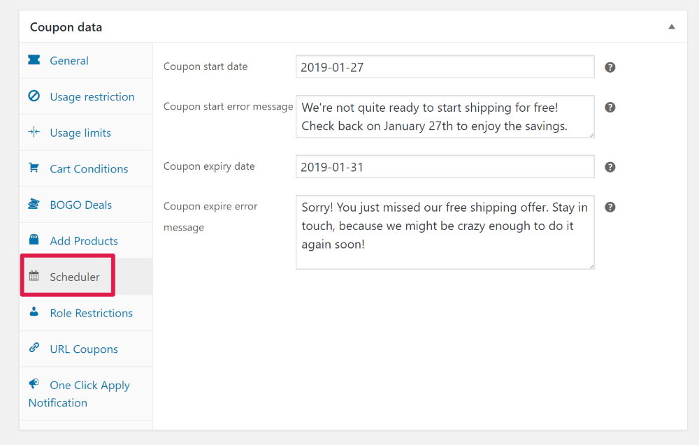 Schedule free shipping coupon
