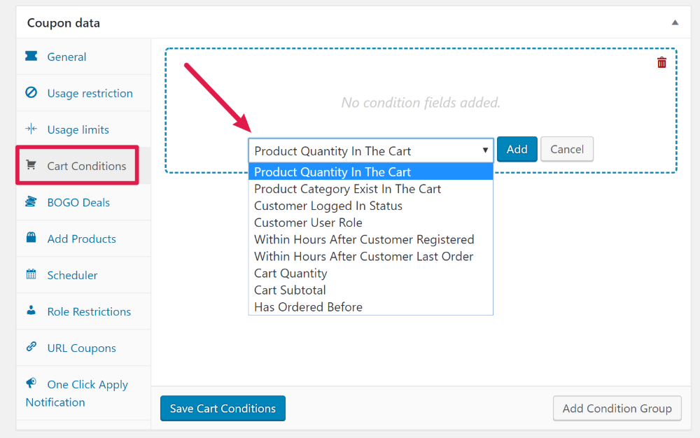 Advanced Coupons cart conditions