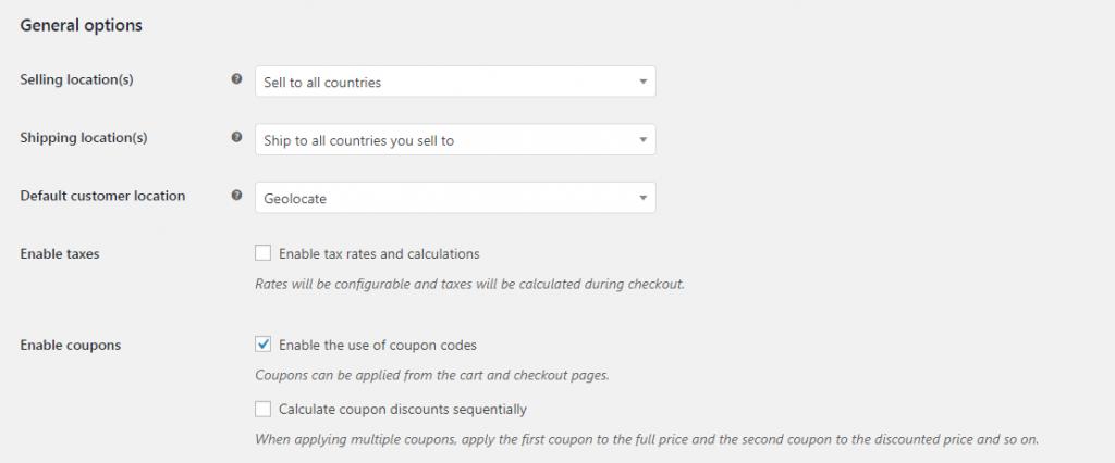 Enabling coupons in WooCommerce.