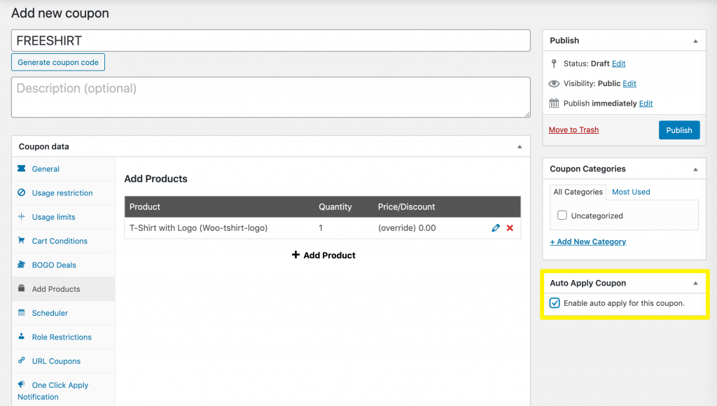 Enabling the Auto Apply Coupon setting in Advanced Coupons.