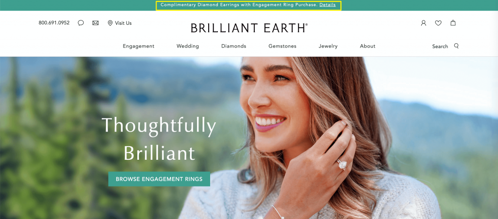 A give away where customers receive a free pair of earrings when they purchase an engagement ring.