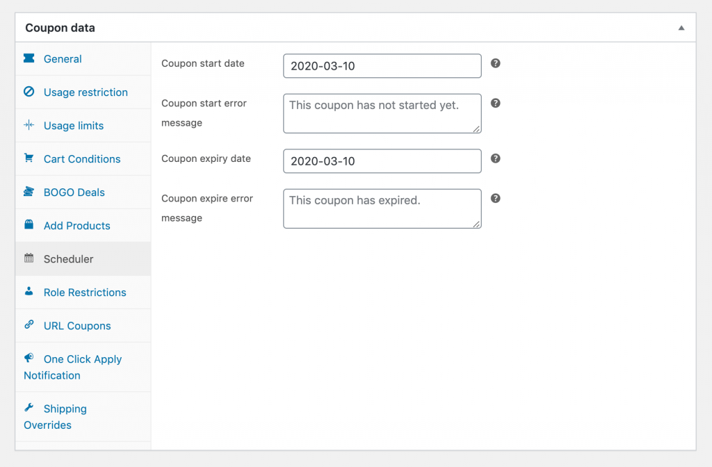 Setting a coupon's start and expiration dates in WooCommerce.