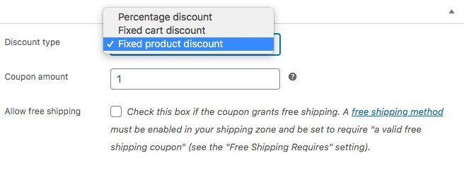 Selecting a discount type.