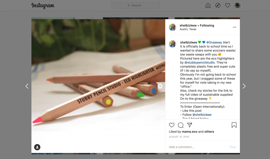 An influencer give away for eco-friendly highlighters on Instagram.