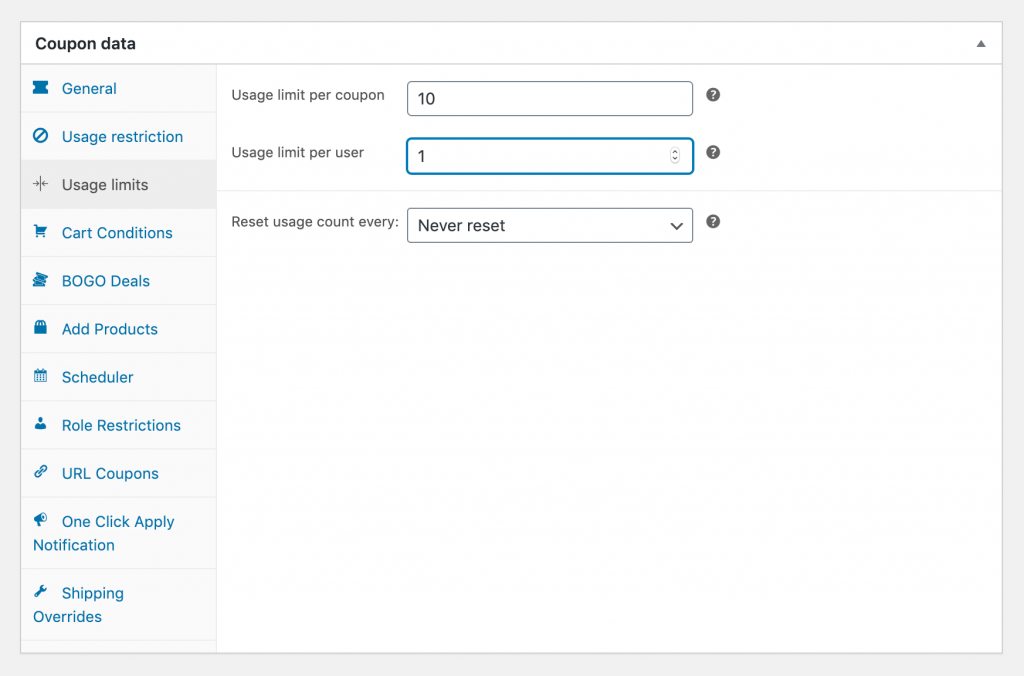 Setting coupon and user limits in WooCommerce.
