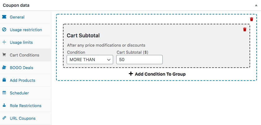 Using Cart Conditions to setup one-click apply notifications.