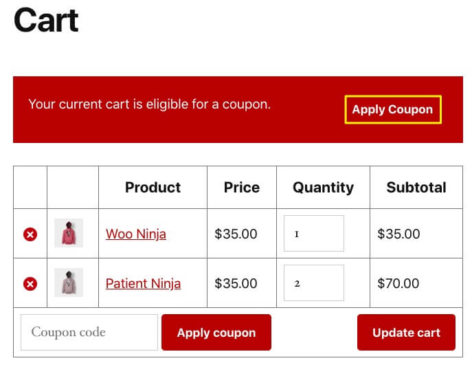 Viewing an example cart that uses one-click apply notifications for a coupon.