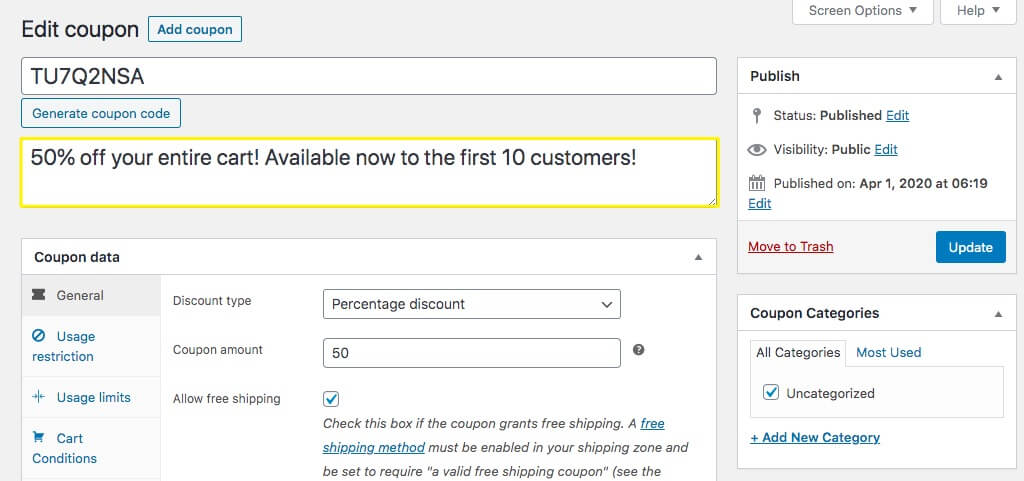 The Edit Coupon screen for Advanced Coupons in WooCommerce.