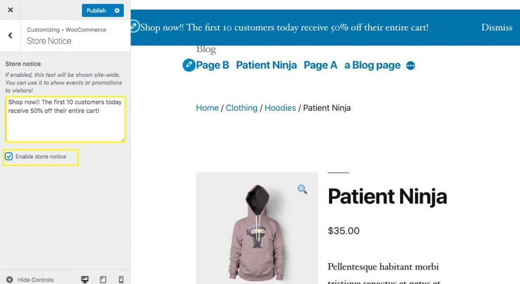 The Store Notice option in the WooCommerce Customizer.