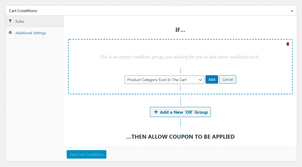 Coupon cart conditions.