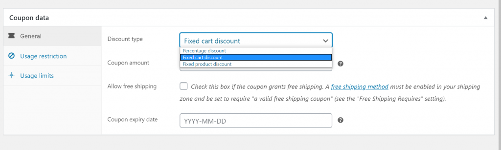 Coupon discount types