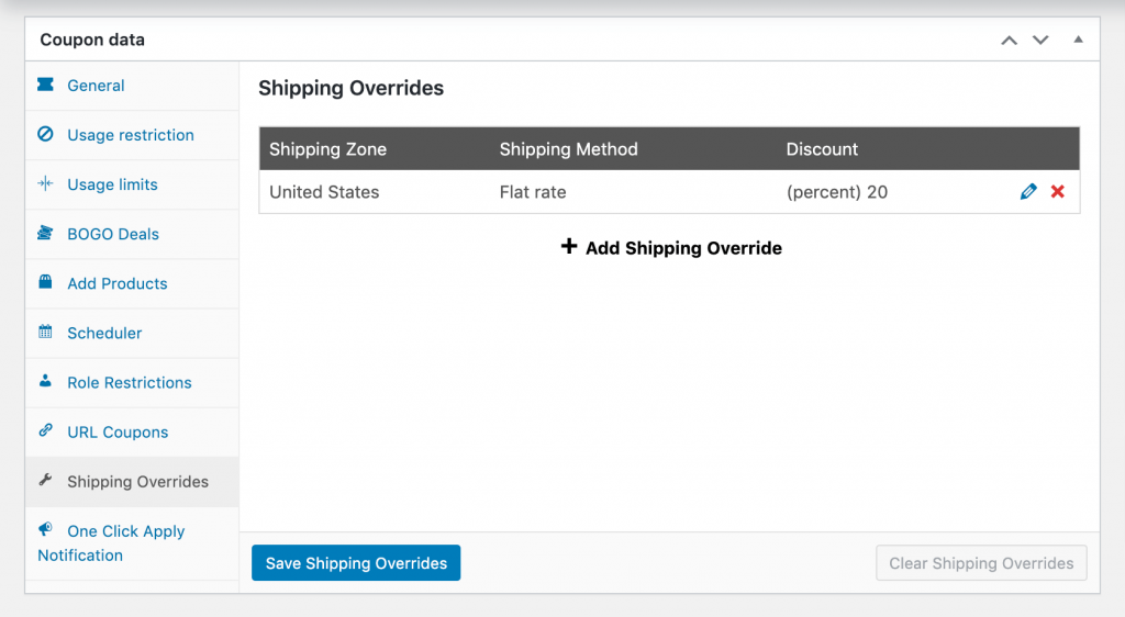 Adding the shipping override.