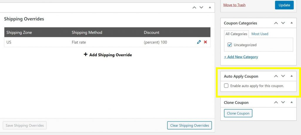 Click the Auto Apply Coupon button on the right side of the screen to grant free shipping automatically.