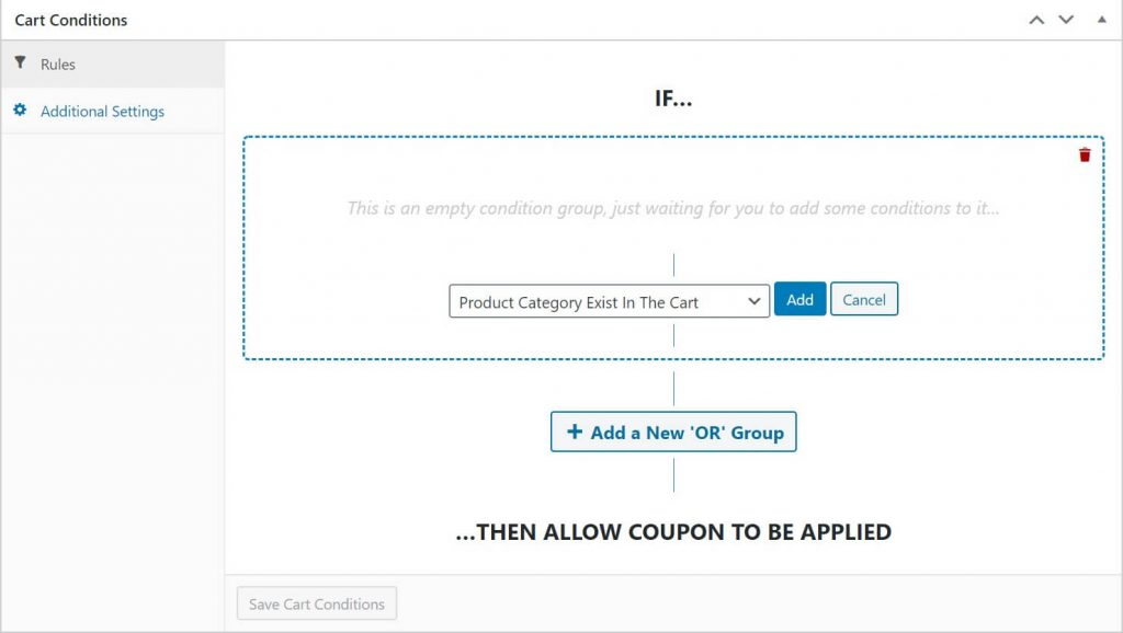 Configure cart conditions to set a purchase limit for free shipping.