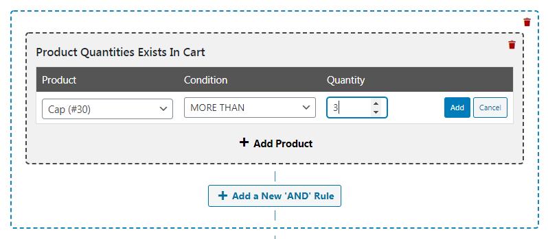 Entering a product quantity.