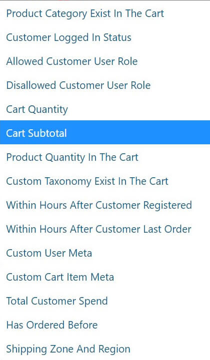 Use the cart subtotal condition.