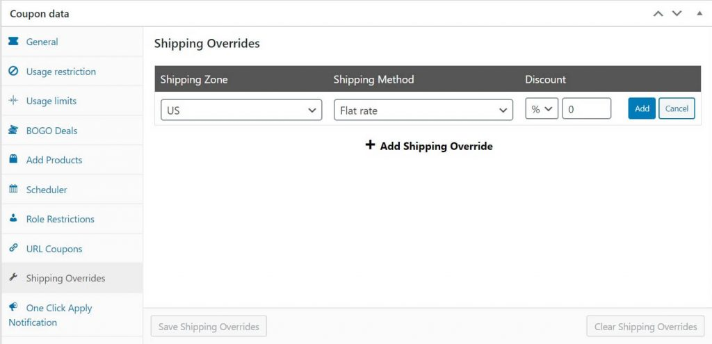Set the shipping zone, method, and discount amount for your free shipping coupon.