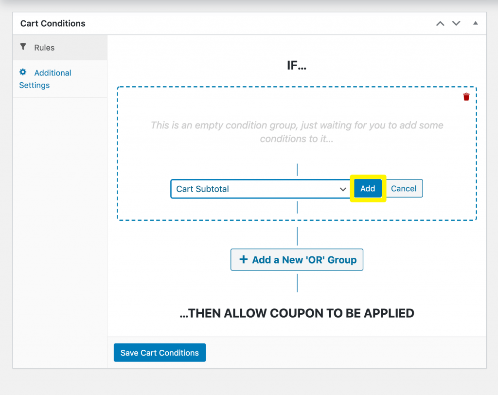 Adding a cart subtotal condition to a shipping discount.