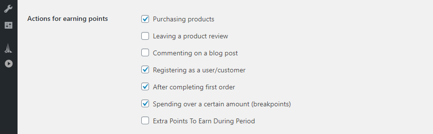 Configuring which actions give reward points in WooCommerce
