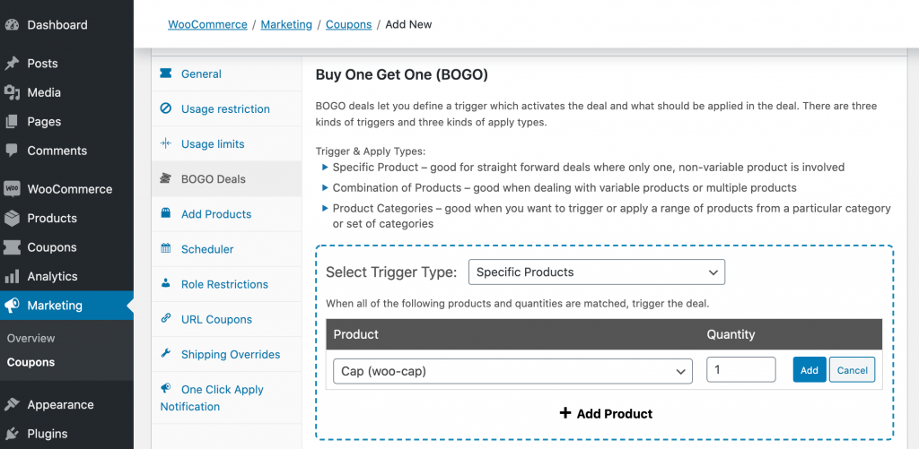 Advanced Coupons' Buy One Get One (BOGO) dashboard.