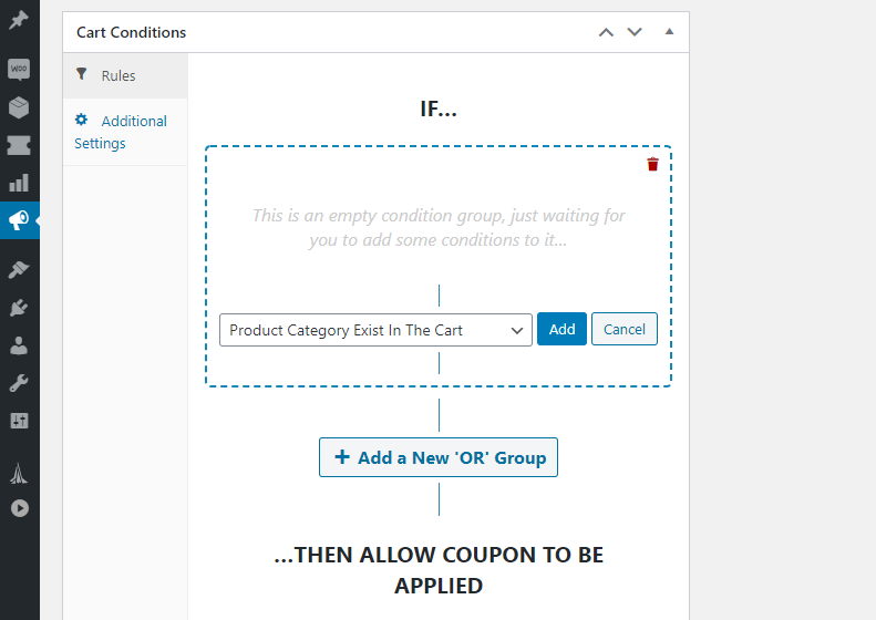 Advanced Coupons' cart conditions