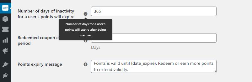Configuring your reward points expiration date