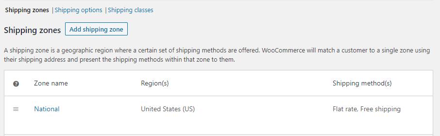 Enabling a free shipping zone.