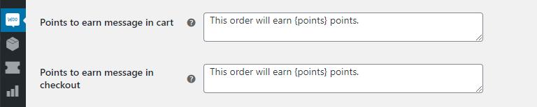 Configuring your reward points notification message.