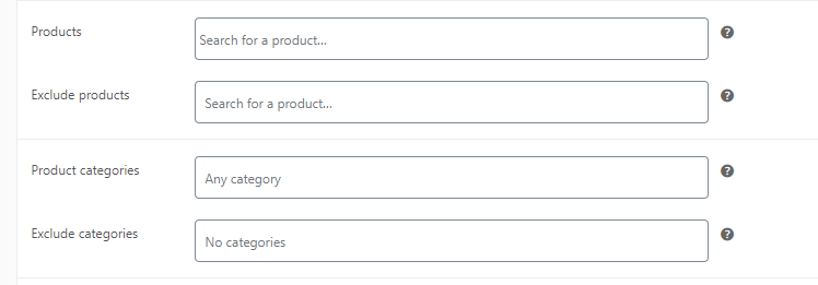 Configuring which categories work with WooCommerce coupons.