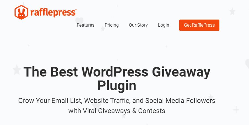 The RafflePress homepage.