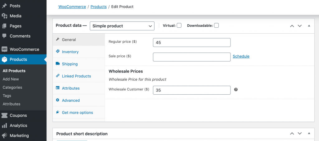 """WooCommerece's """"Product data"""" dashboard."""