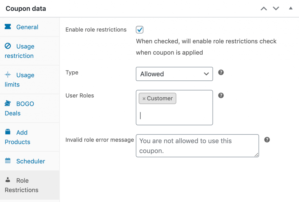 Restricting a WooCommerce next order coupon to customers.