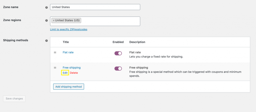 Editing a WooCommerce free shipping method.