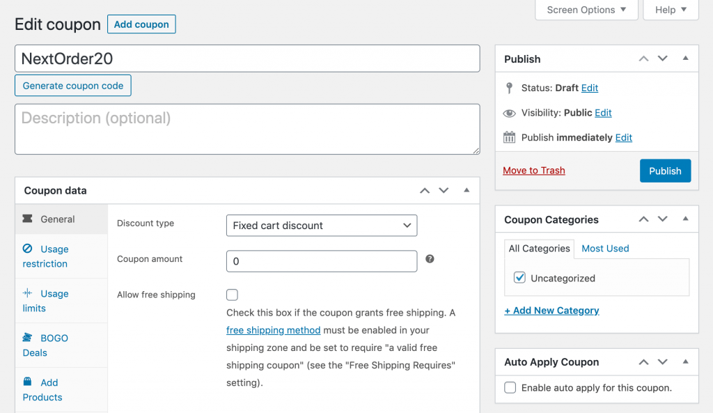 Creating a new WooCommerce next order coupon.