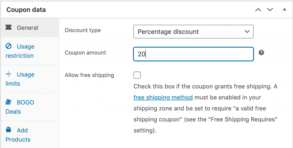Setting the discount type and amount for a WooCommerce next order coupon.