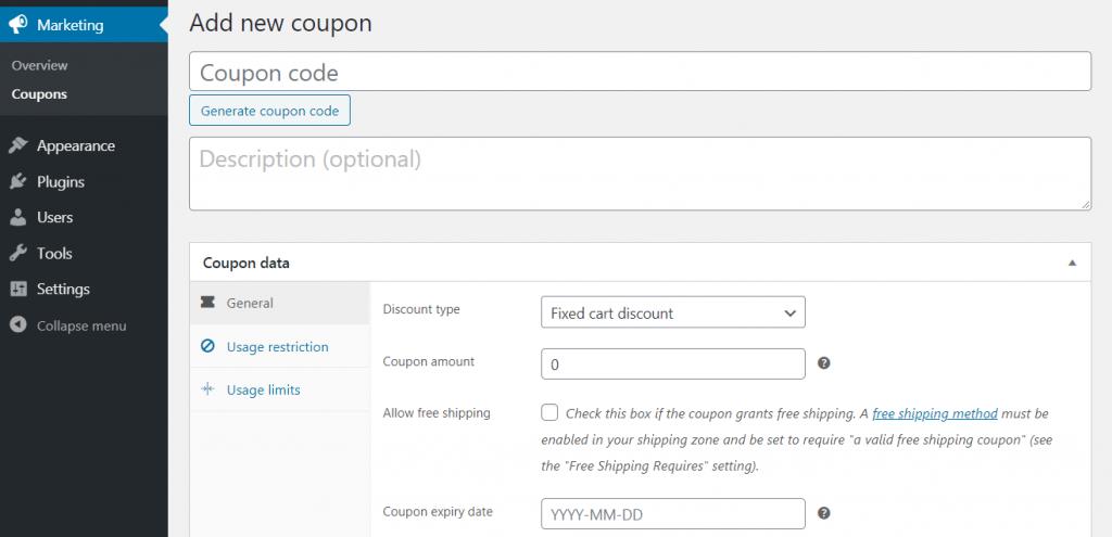 Adding a new coupon.