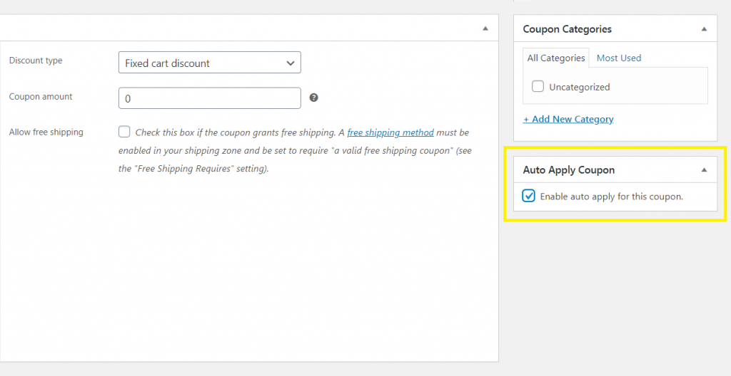Enabling the auto apply feature.