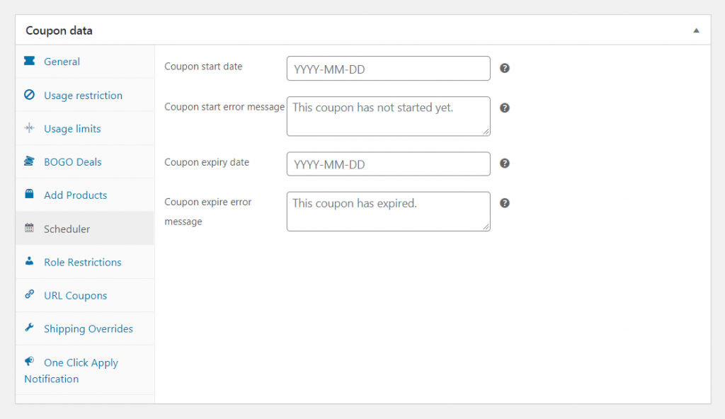 Additional coupon data options.