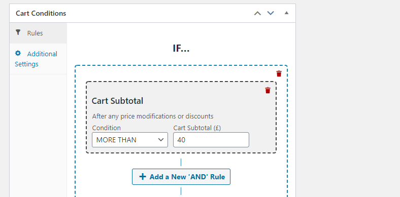 Creating a cart subtotal condition