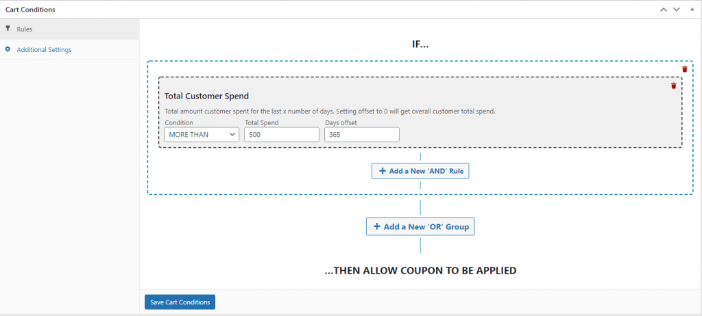 Creating a Cart Condition for customer spend conditions.