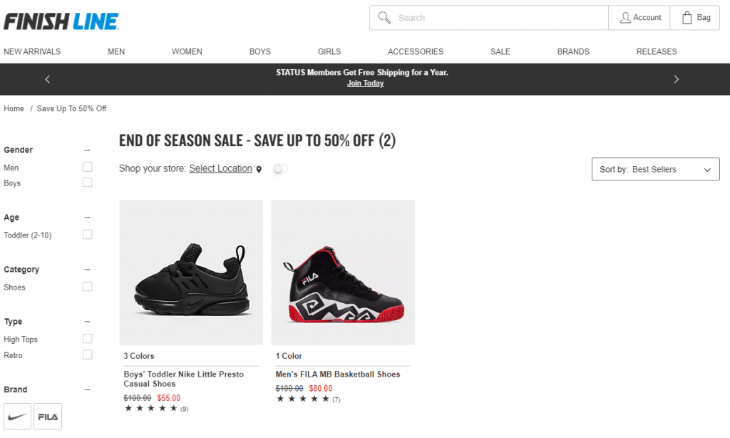 The end of season sale at Finish Line