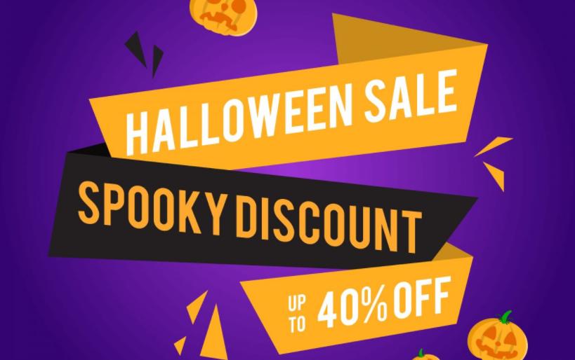 A Halloween sales banner