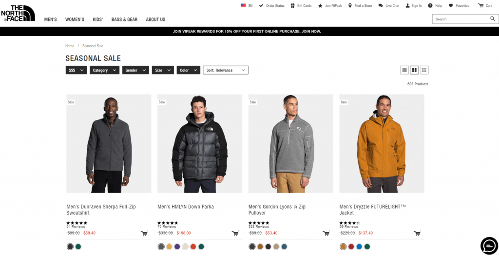 An end of season sale at the North Face