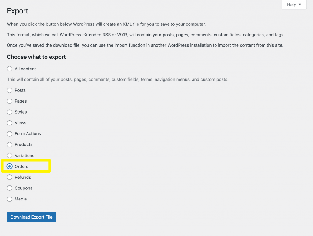 The default WooCommerce order export tool.