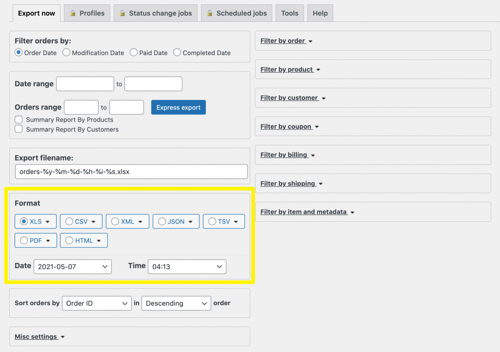 Choosing the WooCommerce order export file type.