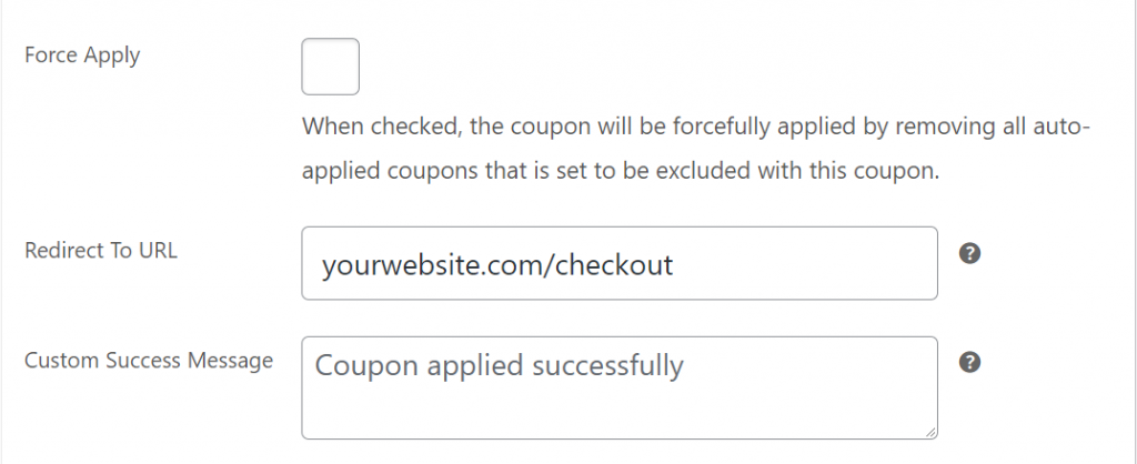 Configuring the coupon to redirect to the checkout page