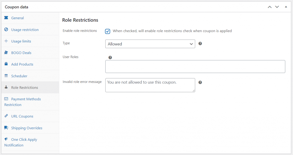 A coupon role restriction screen, helpful for creating a woocommerce coupon for specific user roles.